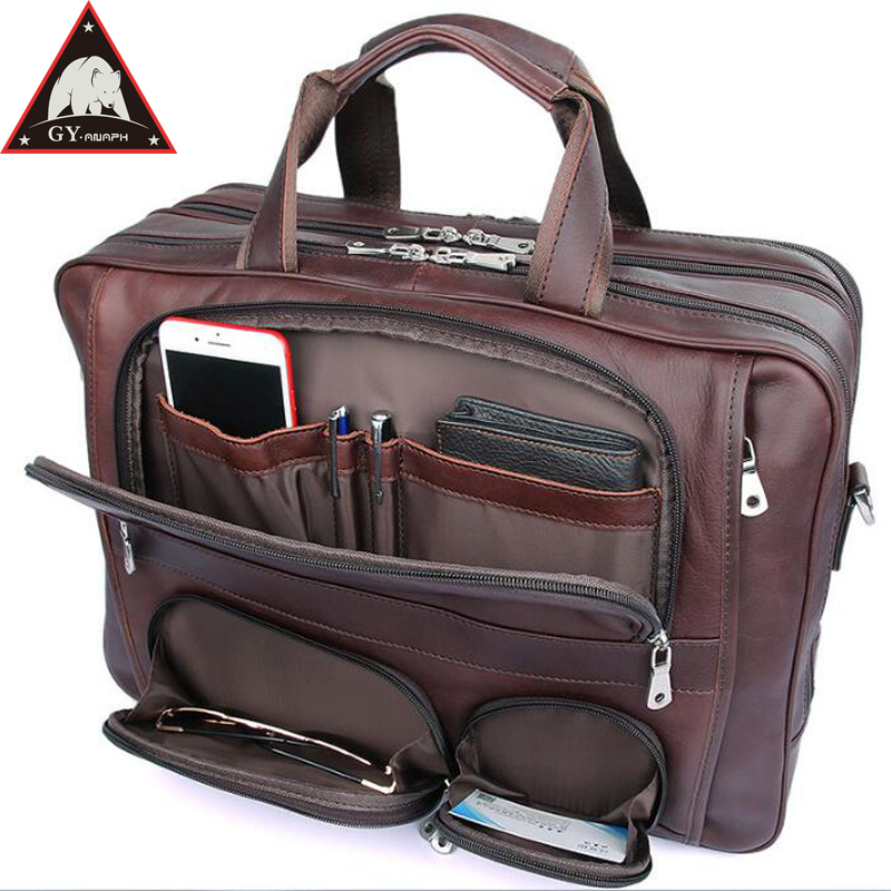 b401c374aad3 Detail Feedback Questions about ANAPH Full Grain Leather Business Briefcase  For Men 17 Inch Laptop Bag Large Capacity Treble Zips Open Big Travel Bags  In ...