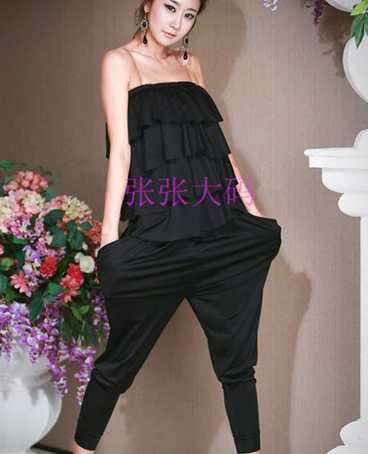 Free Shipping 2017  Fashion Ruffles Long Pants Romper For Women Modal Black Plus Size XS-10XL Customizable Jumpsuits Overalls