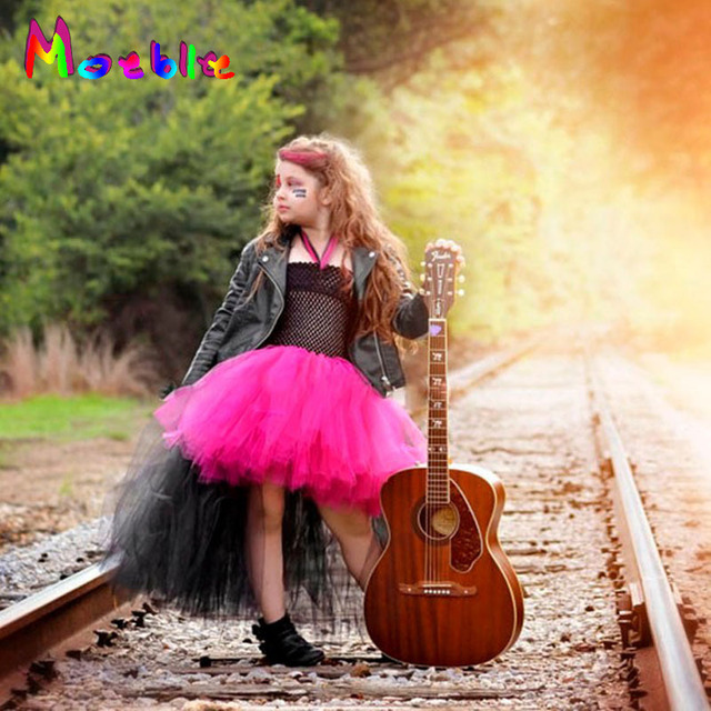 rockstar queen children girl tutu dress halloween costume girls cosplay outfits birthday gift funking girls dresses
