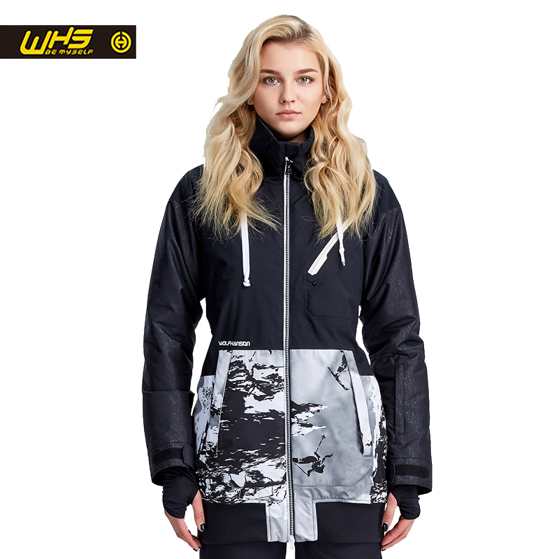 WHS New Couple Ski Jacket Winter Outdoor Snow Cotton Sportswear woman Warm outdoor Coat Waterproof and Windproof black Jacket