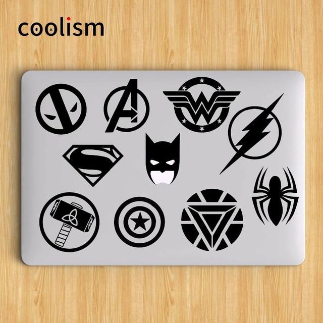 Super Heros Logo Set Batman Laptop Sticker for Apple MacBook Air Decal 13 Pro Retina 11 12 15