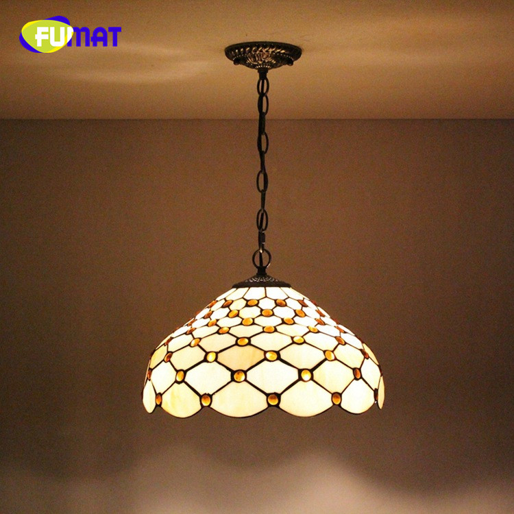 FUMAT European creative retro romantic Yellow Bottom Dragonfly Flower Art Tiffany Stained Glass restaurant chandelier 30CM