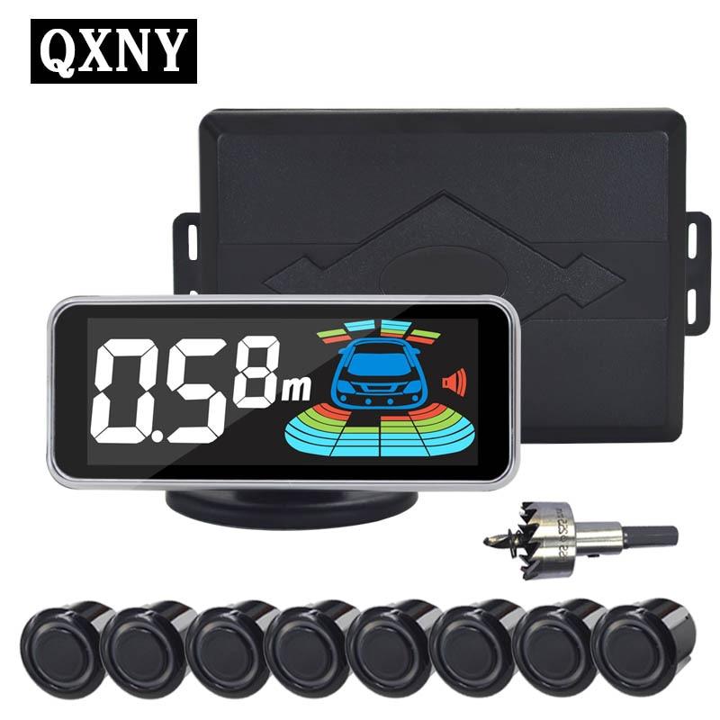 """חיישן חניה QXNY 8 חיישנים מכונית רכב היפוך מכ""""ם חניה גלאי מכונית חניה סיוע חניה מכ""""ם הפוך"""