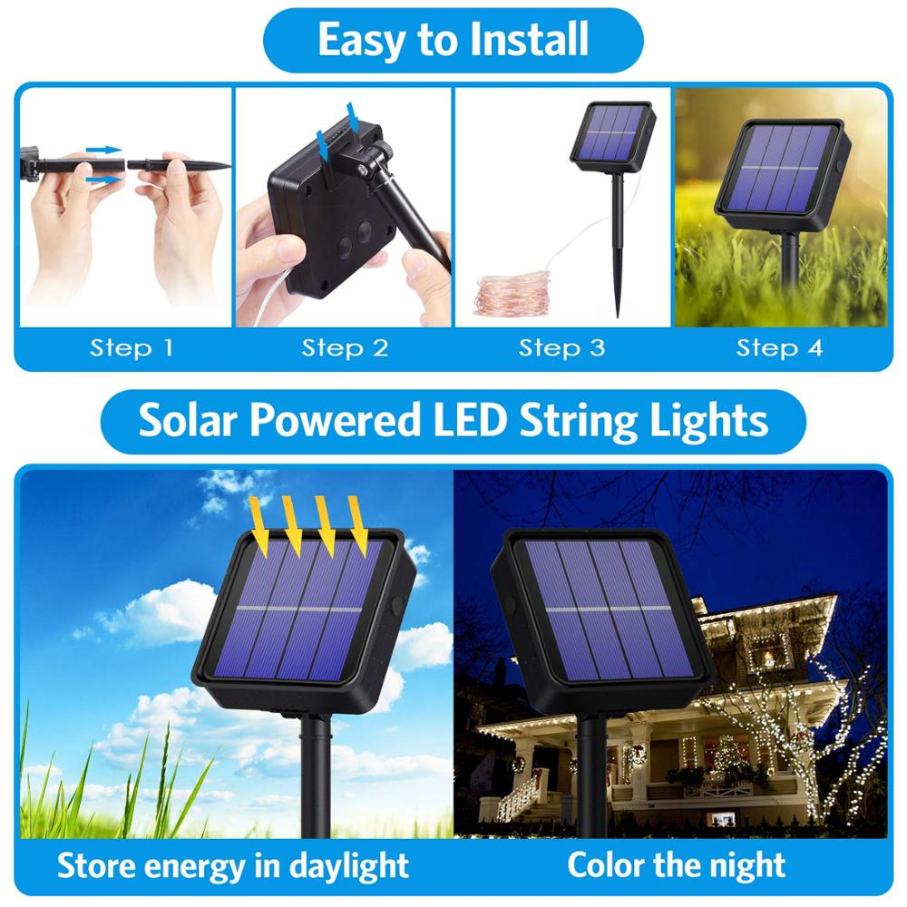 LED Solar Lamp Outdoor 7M 12M 22M LEDs String Lights Fairy Holiday Christmas Party Garland Solar Garden Waterproof Lights 5
