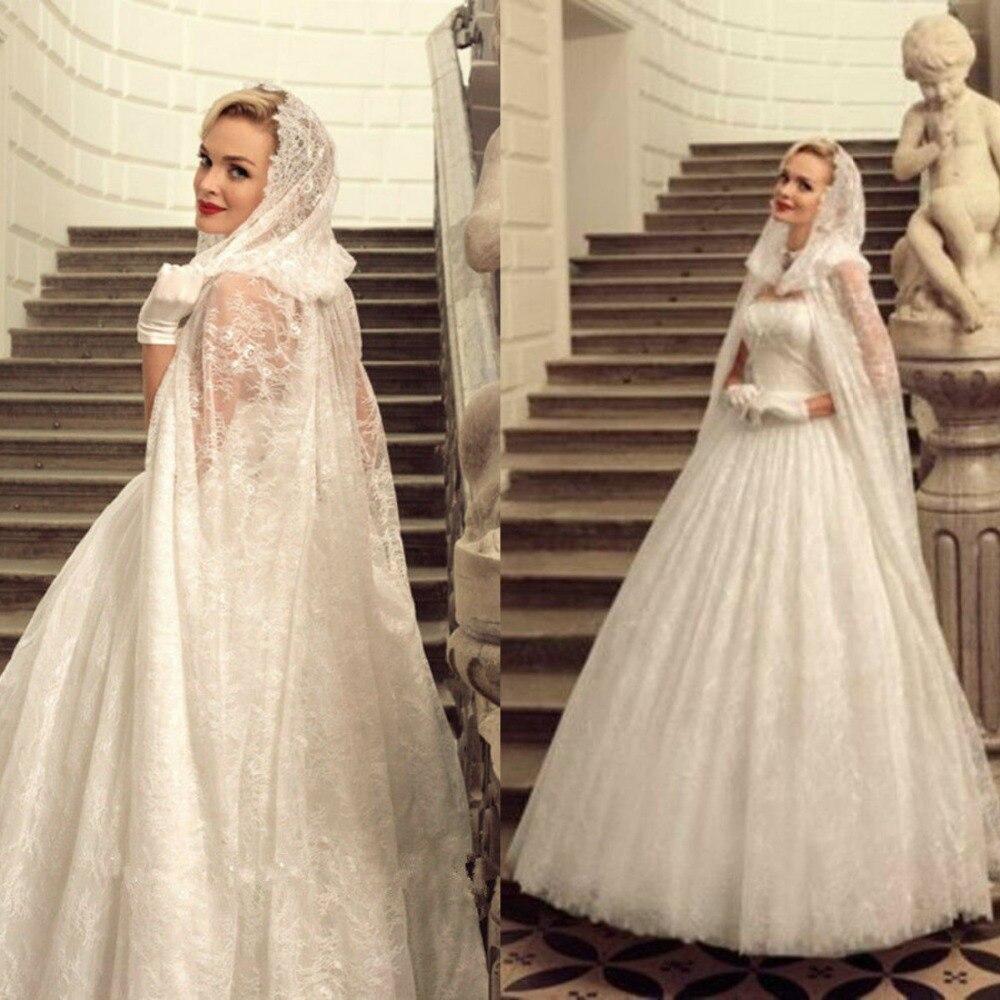 2019 Long Bridal Bolero With Hat Vintage Lace Appliques Sweep Train Wedding Cape Wraps Shawl