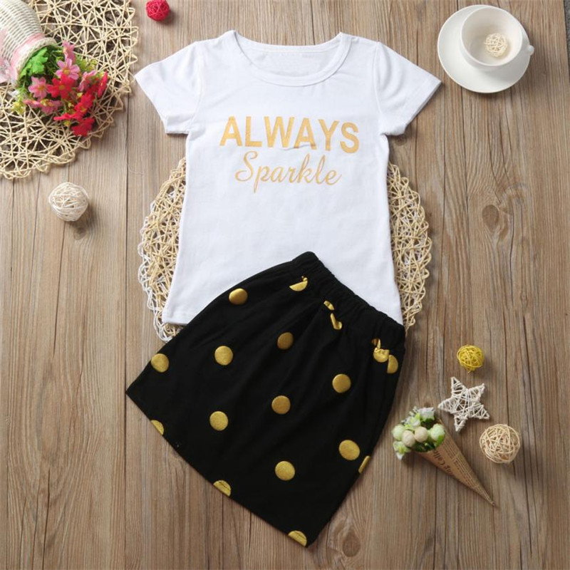 Leisure Baby Kids Girl Dress Letter Tops T-Shirt+GOLD Dot Skirt Outfits Clothes 2pcs Set clothing sets FOR GIRLS summer 2017 new style fashion mom and girls short sleeve letter t shirt dot black skirt set summer kids casual clothes parenting 17f222
