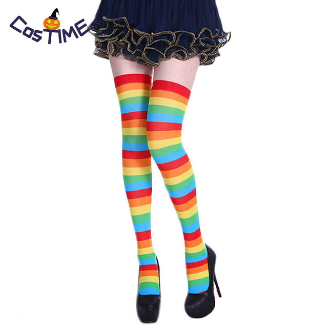 71f5af4302f 5 Pairs Striped Thigh High Socks Chrismas Gift Cosplay Stockings Carnival  Halloween Costume Fancy Dress Accessories
