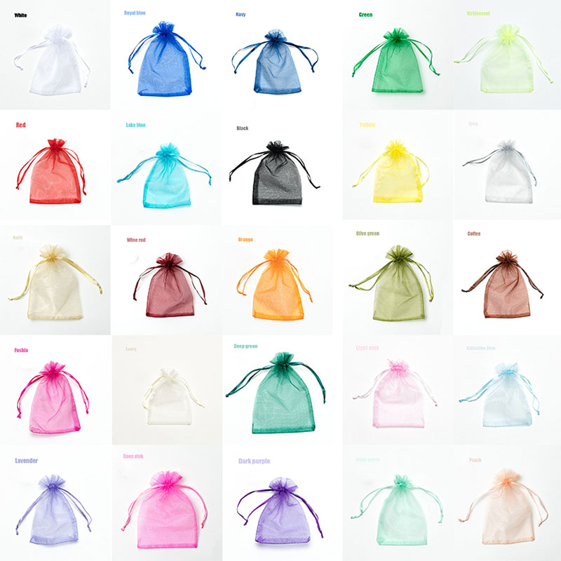 RE 100pcs 22 Colors 7x9 9x12cm 10x15 13x18cm Wedding Christmas Gift Drawable Organza Bags Jewelry Packaging Display & Pouches 13