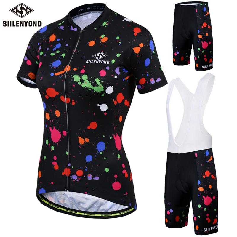 SIILENYOND 2017 Summer Cycling <font><b>Jerseys</b></font> <font><b>Women</b></font> Cycling Clothing Short Set Mountain Bike Clothes Short Sleeve <font><b>Jerseys</b></font> Ropa Ciclismo