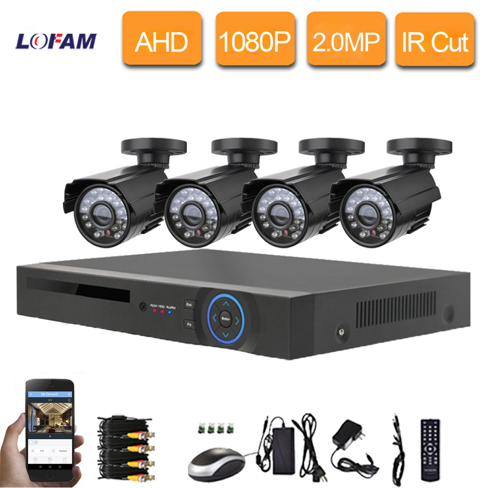imágenes para LOFAM 2MP 1080 P 8CH AHD DVR Kit Sistema de Seguridad de Vídeo CCTV 4 UNIDS AHD 1080 P 2.0MP IR-Cut Cámara home 8 Canales de Vigilancia Kits