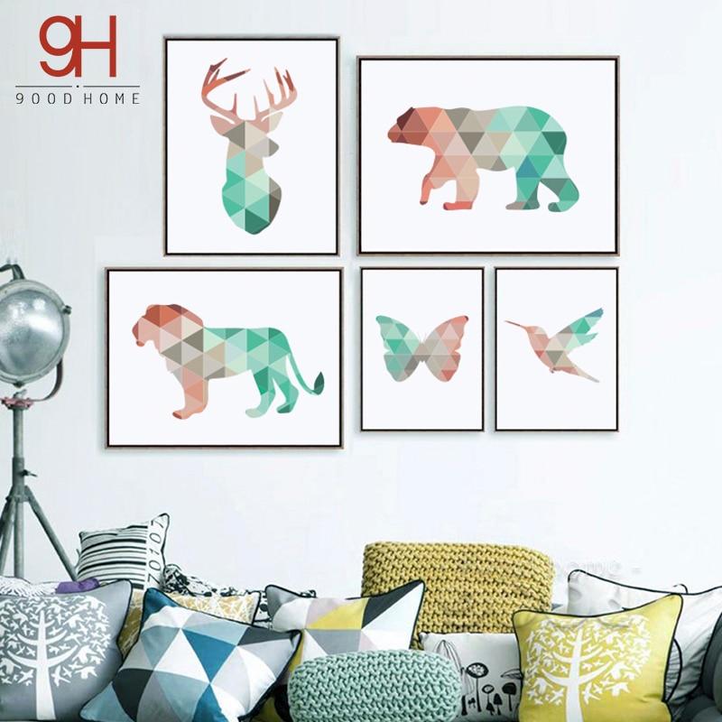 Геометричні тварини полотно - Домашній декор