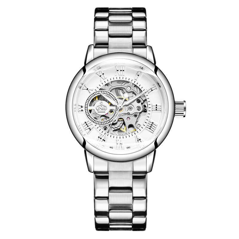 New Fashion Luxury Brand Skeleton Women Mechanical Watch Watch Women Automatic Mechanical Watches for women Silver Montre Femme
