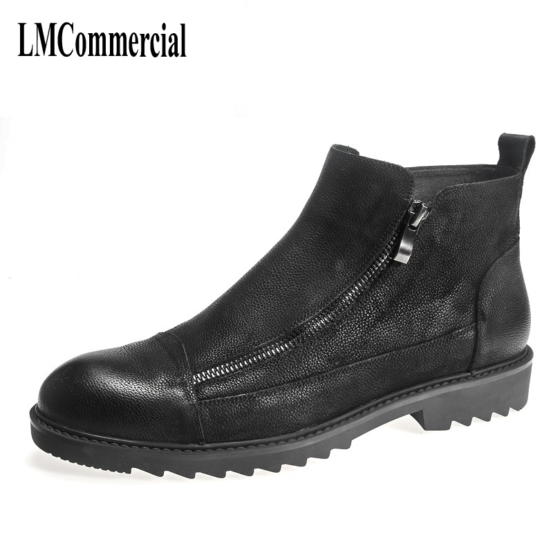 new autumn winter British retro men's leather boots shoes Martin male zipper Europe Chelsea Boots shoes breathable casual europe martin boots male trend of korean in autumn and winter in men shoes chelsea leather boots british retro men casual boots