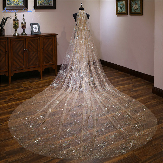 1e7cd817a4709 US $43.15 8% OFF|Sapphire Bridal Bridal Accessories Top End 4m Gold  Cathedral Long Wedding Veil Velo De Novia 1 Tier Sequin Bridal Veil with  Comb-in ...
