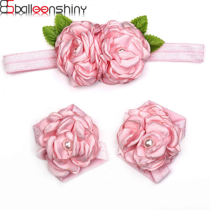 BalleenShiny Newborn Baby Flower Hairband Barefoot Sandals Headband Foot Set Elastic Hairband Infant Kids Hair Accessories