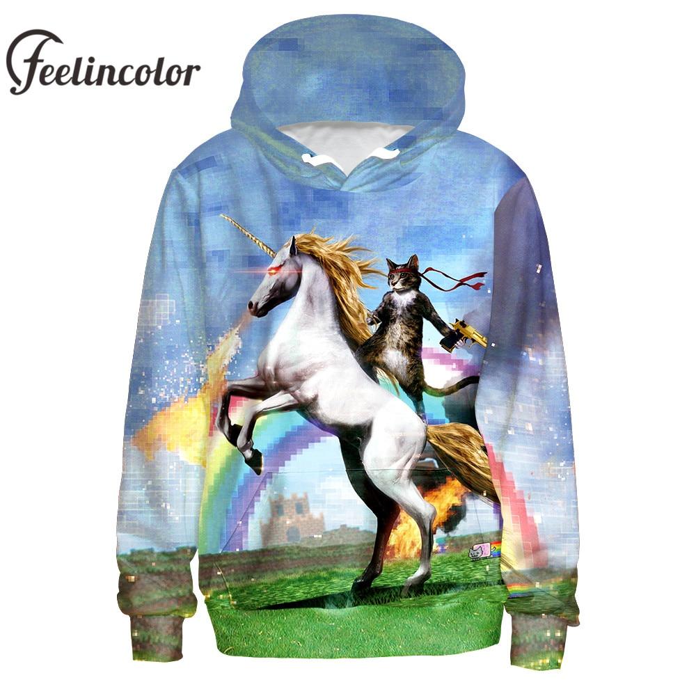 Feelincolor Cat riding horse Sweatshirt Funny Clothes harajuku Hoodies Men/Women Autumn Winter Hooded moleton streetwe