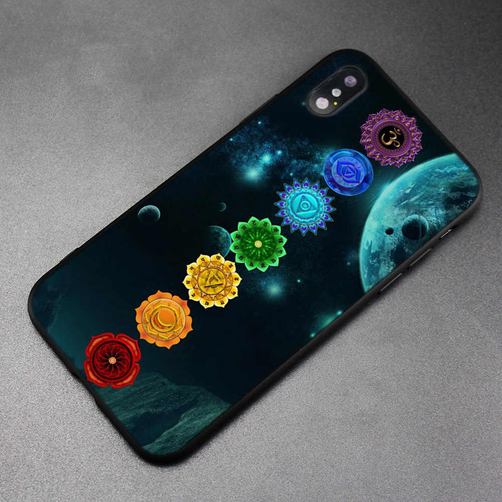 Чехол для iPhone XS Max X XR 6 6s 7 8 плюс 5 SE 5S скраб Силиконовые Мягкий чехол для телефона Мандала чакра Йога