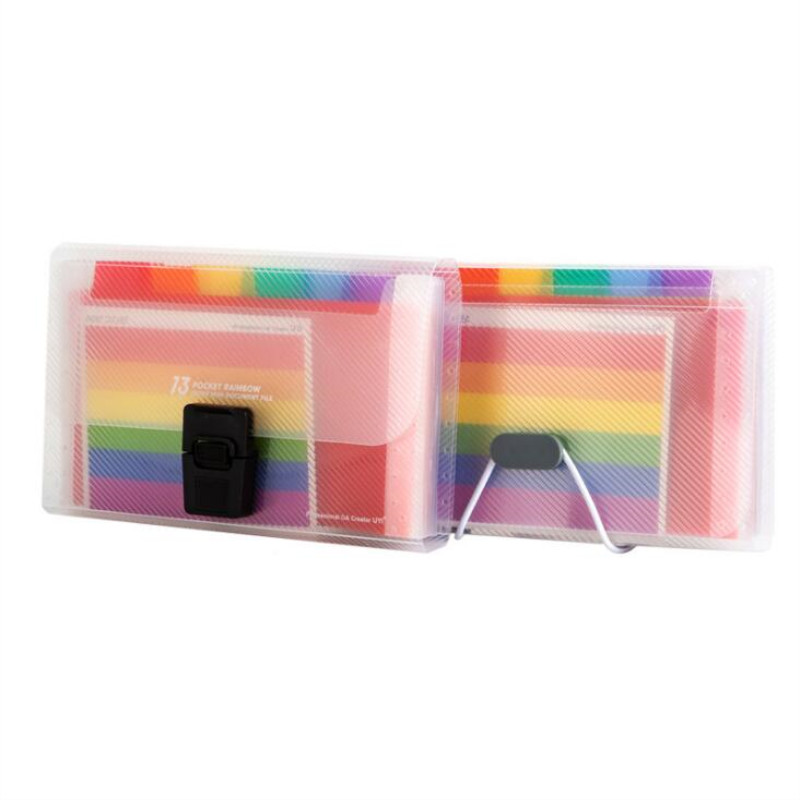 New Office A6 Expanding File Folder Wallet Organ Bag 13 Layer Rainbow Insert Deductions Type Filing Products
