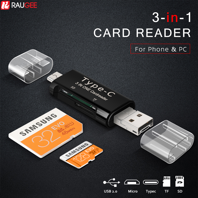 Raugee Type C & Micro USB OTG Card Reader 3 In 1 USB-C 2.0 Universal TF SD Read Plug For Mobile Phone PC Mac Computer Adapter