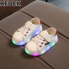 NEW Casual Lighted Sports PU Leather Children Light Shoes Boys Girls Toddler Baby Glowing Sneakers Kids Flats Luminous 044