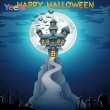 Yeele Halloween Party Castle Moon Bomb Cross Bats Photography Backdrops Personalized Photographic Backgrounds For Photo Studio
