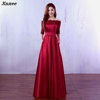 Xnxee 2018 High Quality Long Lace Dress Maxi Dress Off the Sholder Long Burgundy Evening Gowns vestido de festa For Prom Party