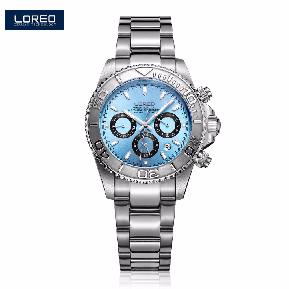 LOREO Men Watches Auto Date Watch Sports Stainless Steel Strongest Luminous Waterproof 200m Diver Mechanical Wristwatches PO09 loreo automatic self wind watch men mechanical relogio luminous stainless steel auto date watch man diver wristwatches k43