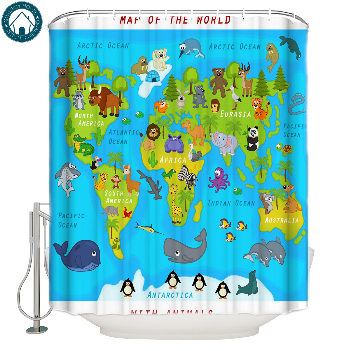 Qualibuy House Store  Map With Animals Australian Kangaroo Panda Squirrel Bathroom Shower Curtains Fabric Shower Curtains