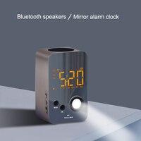 Speaker Alarm Clock Wireless Bluetooth Mirror Portable Mini Bass Digital USB FM Radio J2Y