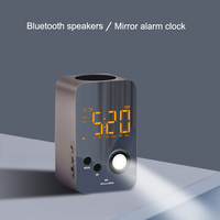 Speaker Alarm Clock Wireless Bluetooth Mirror Portable Mini Bass Digital USB FM Radio J2Y
