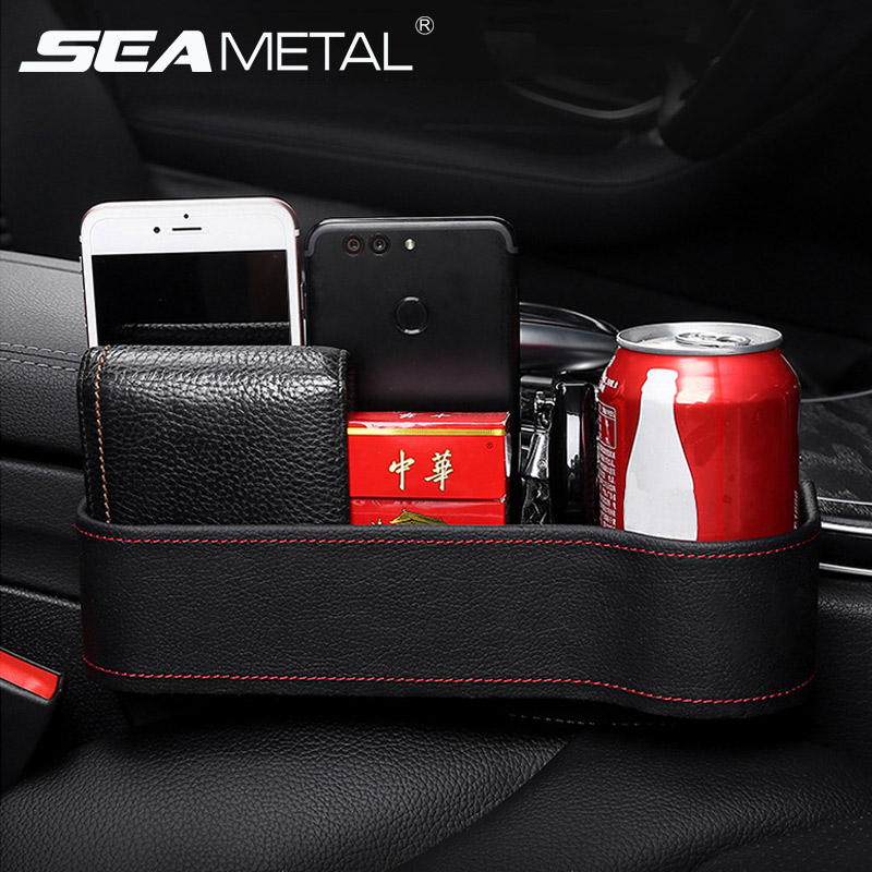 Car Organizer Seat Gap Storage Box PU Case Pocket Car Seat Side Slit for Wallet Phone Coins Cigarette Keys Cards Auto Universal