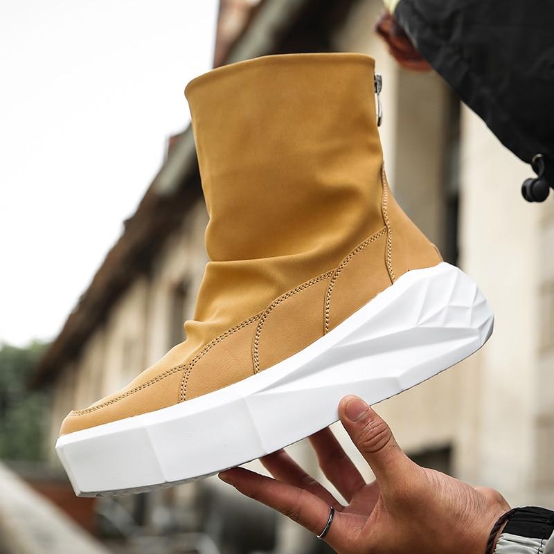 952900cfe46 🛒 Fine Zero Men spring autumn Height Increase platform Boots Back ...