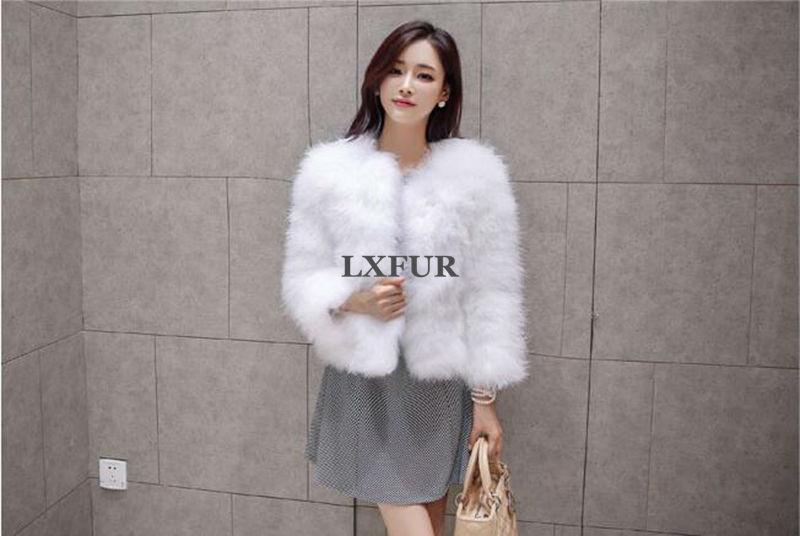 2017 New Fashion Real Ostrich Fur Coats Womens Turkey Fur Solid ...