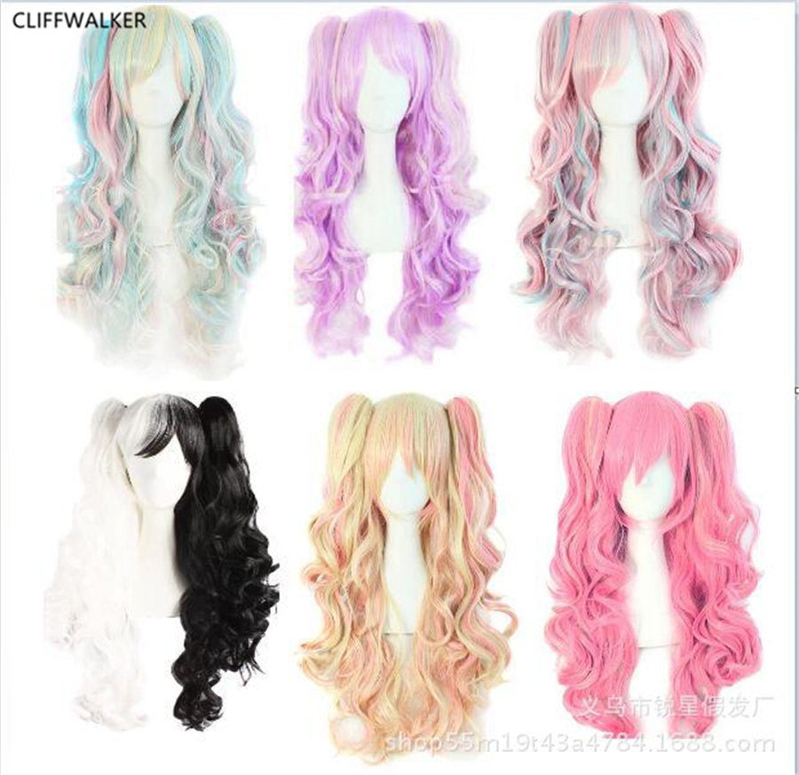 Long Wavy Cosplay Wig 65cm Purple Pink Ombre 10 Colors Two Ponytails Synthetic Hair Heat Resistant Wigs For Women