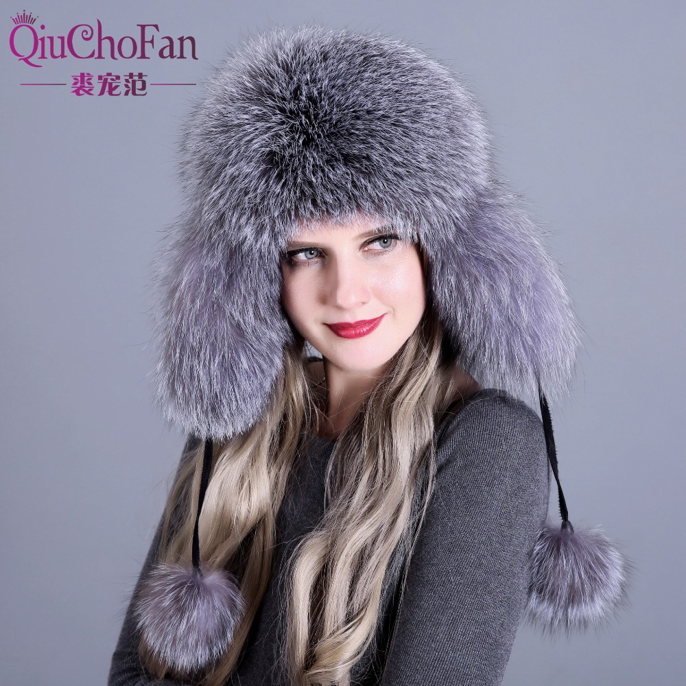 cefb373e672 Fur Hat for Women Natural Raccoon Fox Fur Russian Ushanka Hats Winter Thick  Warm Ears Fashion Bomber Cap Black New Arrival