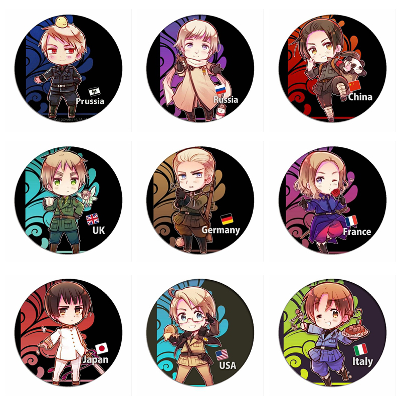 Manga Axis Powers Hetalia Cosplay Badge Brooch APH Country Pins Cartoon Collection Badges For Backpacks
