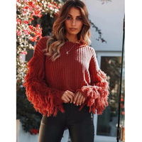 Shaggy Sleeve Knitted Sweater 2018 Women Solid O neck Warm Pullover Autumn Winter Ladies Retro Jumpers Outerwear Plus Size