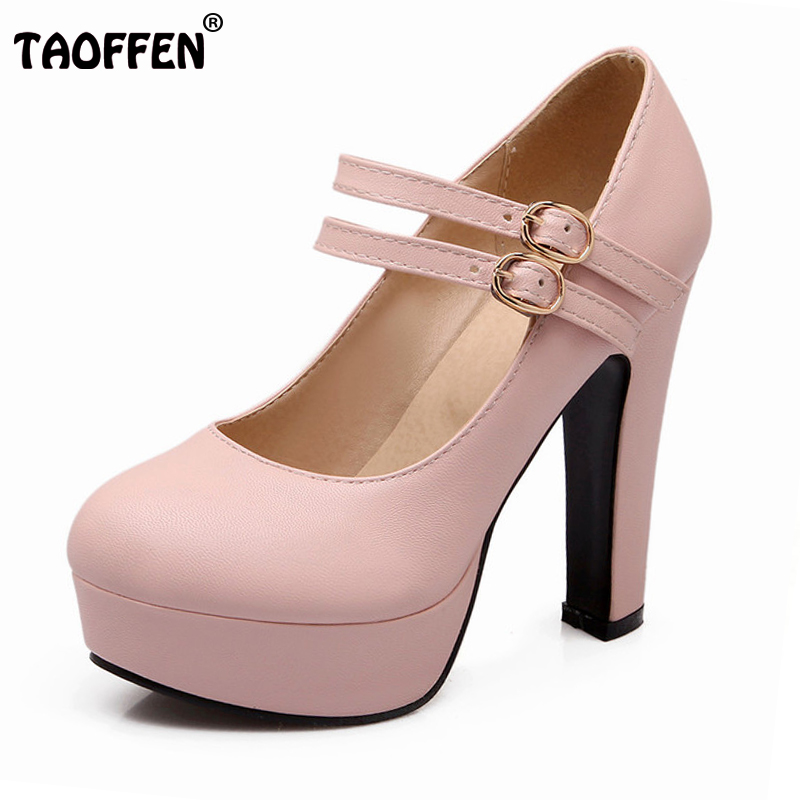 TAOFFEN women stiletto high heel shoes sexy lady platform spring fashion heeled pumps heels shoes plus