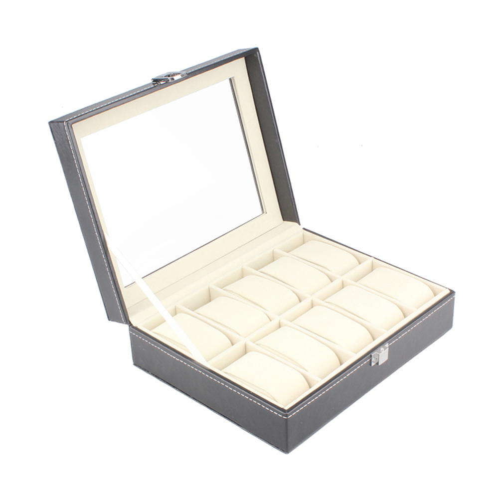 Fashion Jewelry Display Cases 10 Cell Flannelette Watch Storage Box Portable Carring Boxes PU Leather Necklace organizer VL