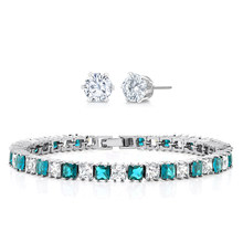 "15.00 ctw Princess Cut Light Blue & White CZ Tennis Bracelet 7"" With Studs(China)"