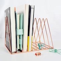 Gold/Rose Gold Electroplated Bookend Desk Organizer Desktop Home Bookends Book Holder Black Book Stand