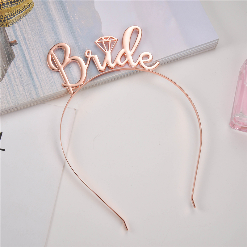 Rose Gold Silver Bride To Be Crown Tiara Headband for Wedding Bachelorette Party Bridal Shower Decoration Supplies Favor Gifts,Q
