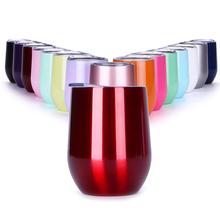 Stainless Steel Wine Glass Tumblers, 9&12 Oz Double Wall Vaccum Insulation - Wine Coffee Drinking Tumblers with Lid