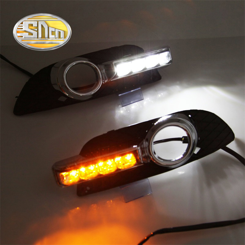 For Mitsubishi Lancer 2009 - 2014,With Yellow Turning Signal Function Waterproof ABS Car 12V LED DRL Daytime Running Light SNCN sncn with yellow turning signal relay waterproof 12v car drl led daytime running light fog light for skoda rapid 2013 2014 2015