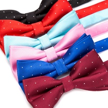 все цены на Men Bowtie Fashion Butterfly Gravata Party Wedding Bow Tie for Boys Girls Candy Color Dot Pattern Bowknot Accessories Necktie