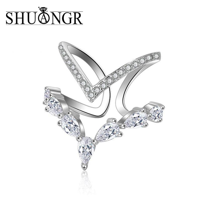 SHUANGR Rings for Women Crystal Cubic Zirconia Anel