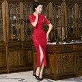 Rojo de Las Mujeres de seda Largo Cheongsam encaje sexy Qipao Chino Tradición de la boda vestido de Noche Vestido de calidad Superior Tamaño S M L XL 3XL