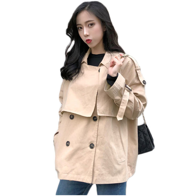 Trench-Coat Windbreaker Female Autumn Korean Women Double-Breasted New Solid Mujer Basic