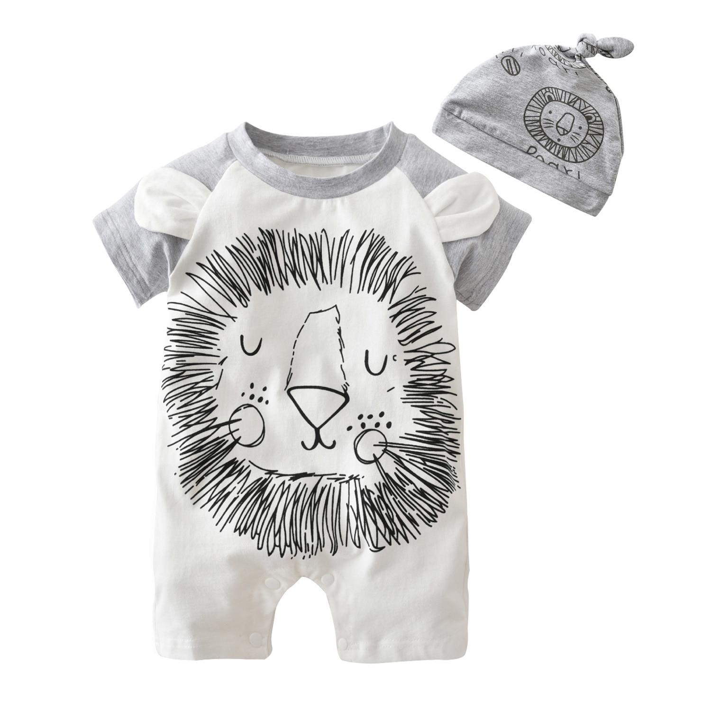 42d5c5628 Fashion baby romper short sleeve cartoon lion one piece suit infant  jumpsuit newborn baby boy girl