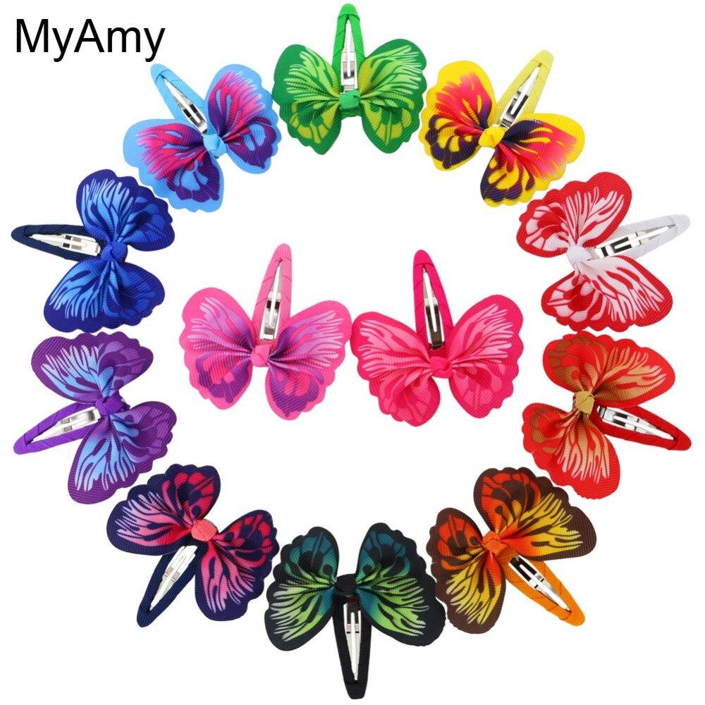MyAmy 24pcs/lot 3 Ribbon Hair Bows with Clip Boutique Hair Ribbon Bows Hair clips Kids Hair accessories